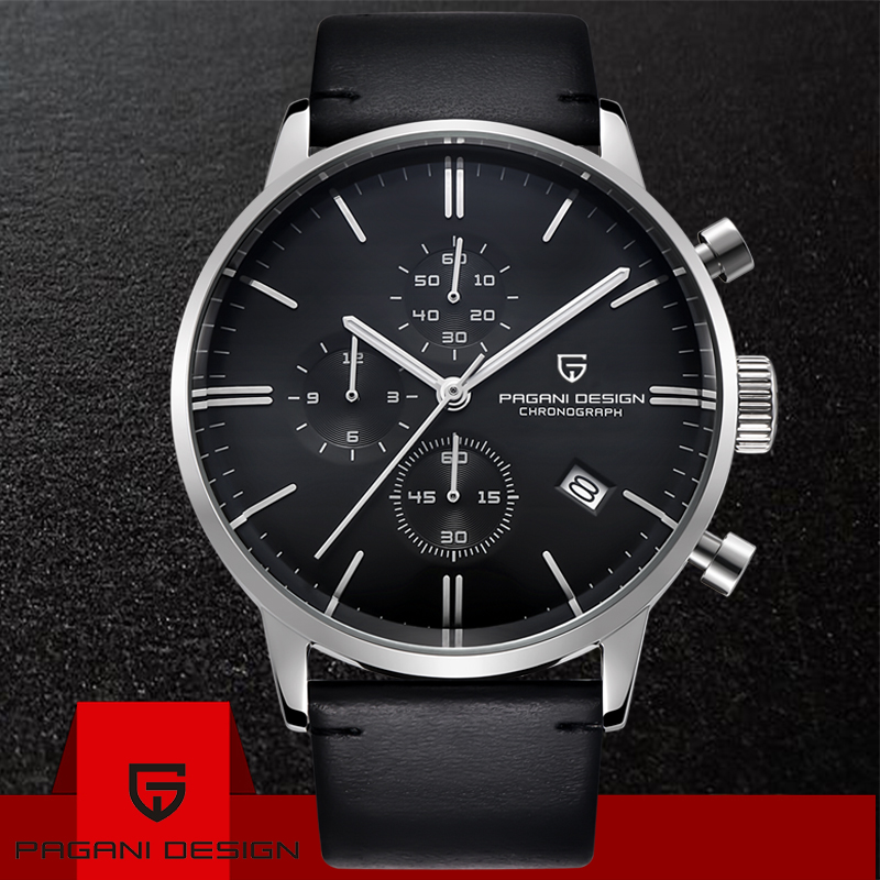 PAGANI DESIGN Men Fashion Casual Brand Watch Waterproof Simple Leather Chronograph Quartz Watches Anniversary Gifts For Husband