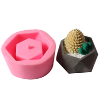 KiWarm New 3D Geometric Flowerpot Cement Mold Cake Mold Silicone Mold Chocolate Gypsum Candle Soap Candy