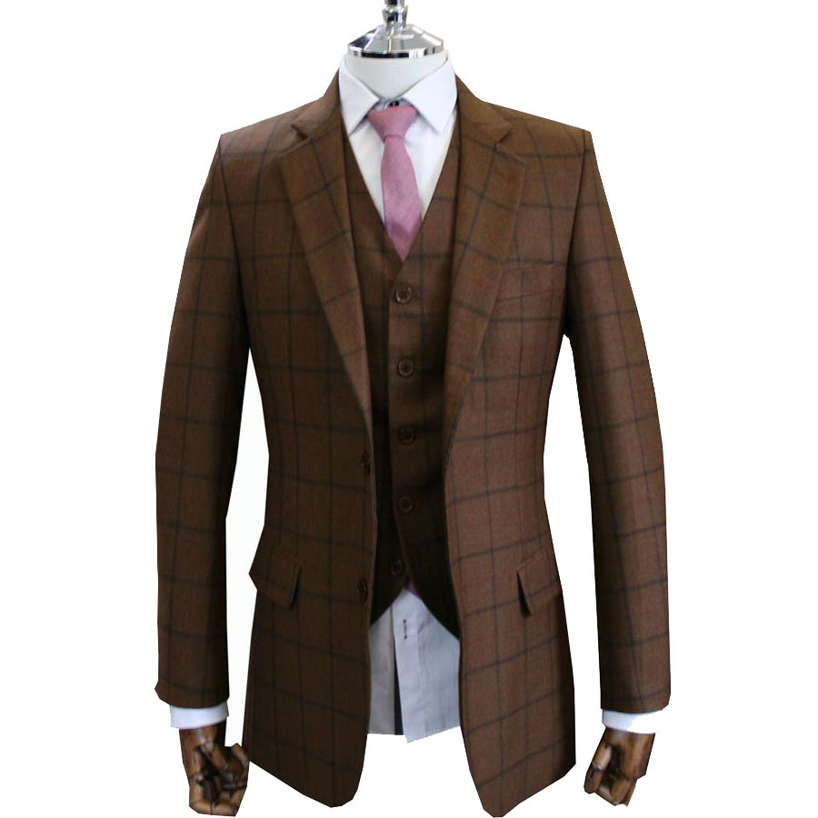 Favori High Quality 100% super Wool slim fit suits for men Brown Vintage  RE45