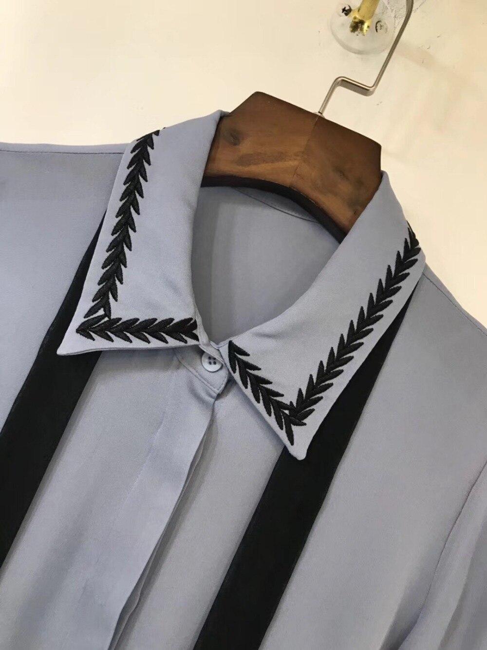 2019 Nuevas Mujeres Primavera Camisa Ddxgz3 2 Color Seda De Las Blusa Bordado 1qFp54