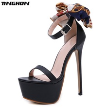 TINGHON Sexy 16cm Ultra High Heels Butterfly-knot Sandals For Women Summer Platform Open Toe Shoes Woman Pumps