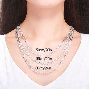 """Image 5 - 20 24 """"czysta prawdziwe 925 Sterling Silver Figaro łańcuchy naszyjniki kobiety mężczyźni biżuteria chłopiec prezent dla przyjaciela 50cm 60cm 5.5mm Colier hurtownie"""