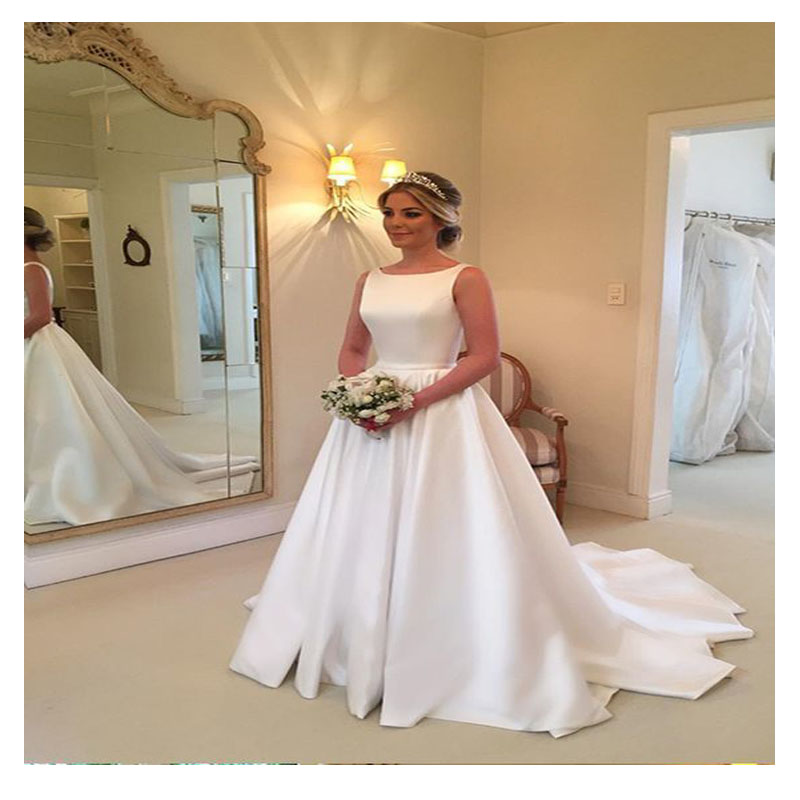 Satin Wedding Dress 2019: LORIE White Satin Train Wedding Dress 2019 Robe De Mariee
