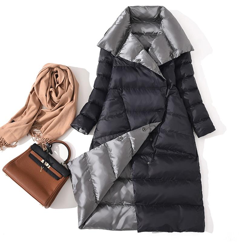 Long Women   Down   Jacket White Duck   Down     Coat   Winter Turtleneck Double Breasted Warm Parkas Snow Windproof Outwear