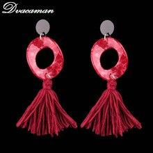 Dvacaman 2017 Luxury Colorful Geometric Resin Tassels Dangle Earrings Statement Jewelry Long Lucite Drop Earrings For Women