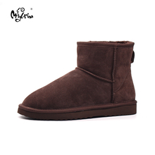 Top Quality New Genuine Cowhide Leather Snow Boots Natural Fur Botas Mujer Winter Real Wool Fashion Ankle Shoes For Women