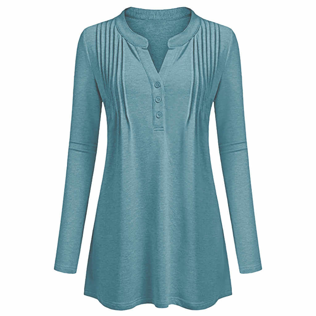 658320746d ... Solid V Neck Henley Shirts Women Long Sleeve Casual Flowy Work Tunic  Blouses Plus Size Loose ...