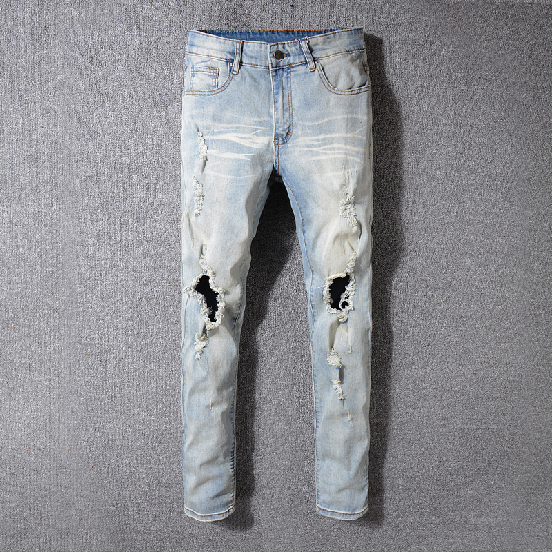 Vintage Retro Designer Men's Jeans High Quality Youth High Street Hip Hop Jeans Men Punk Pants Skinny Fit Ripped Jeans Stretch white mens skinny jeans 2017 fashion mens jeans slim straight high quality stretch skinny ripped biker jeans for men jw108