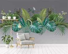 Beibehang Custom 3D Mural Wallpaper Southeast Asia Tropical Rainforest Banana Leaf Photo Background Wall Silk material