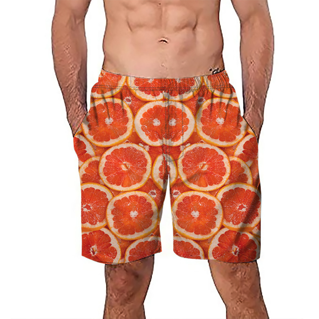 CHAMSGEND   Shorts   Men's   Board     Shorts   Surfing Trunks 3D Grapefruit Print Patchwork Beach   Shorts   Swimwear Male   Short   Pants 3.Feb.12