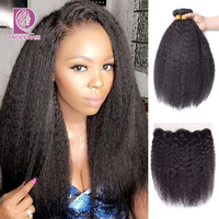 Racily Hair Natural Color Brazilian Kinky Straight Bundles With Frontal Remy Human Hair Bundles With 13x4 Lace Frontal Closure
