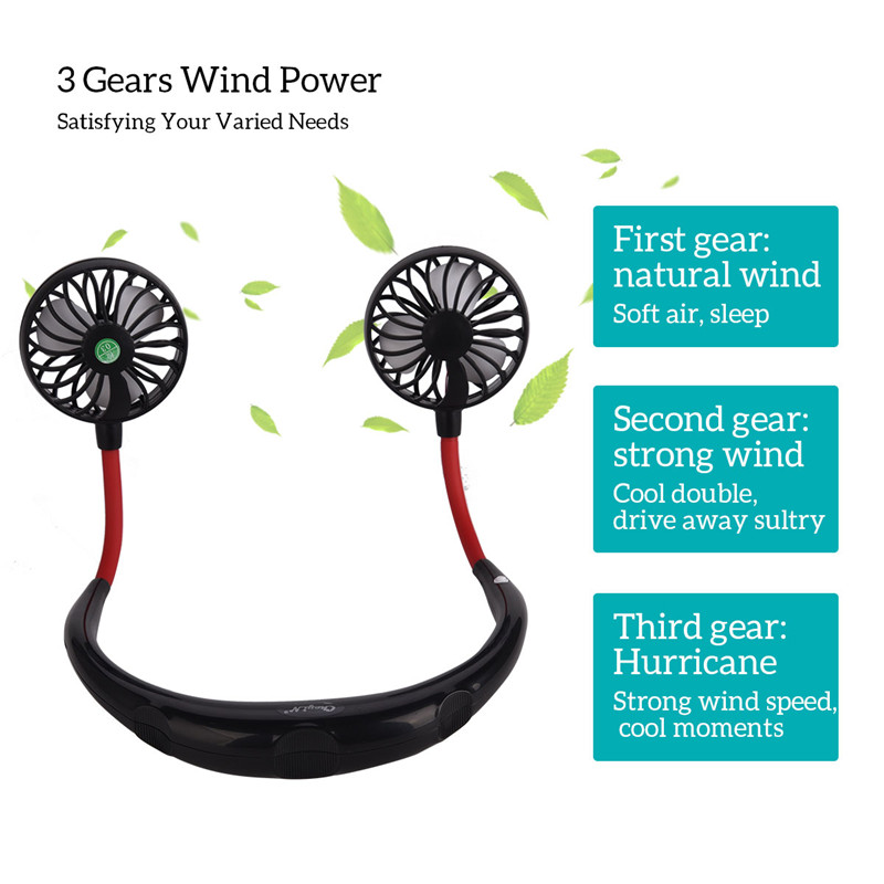 Headphone Design Electric Mini Fan USB Rechargeable Personal Neck Fan Hand Free Creative Small Fan Running Outdoor Exercise 31