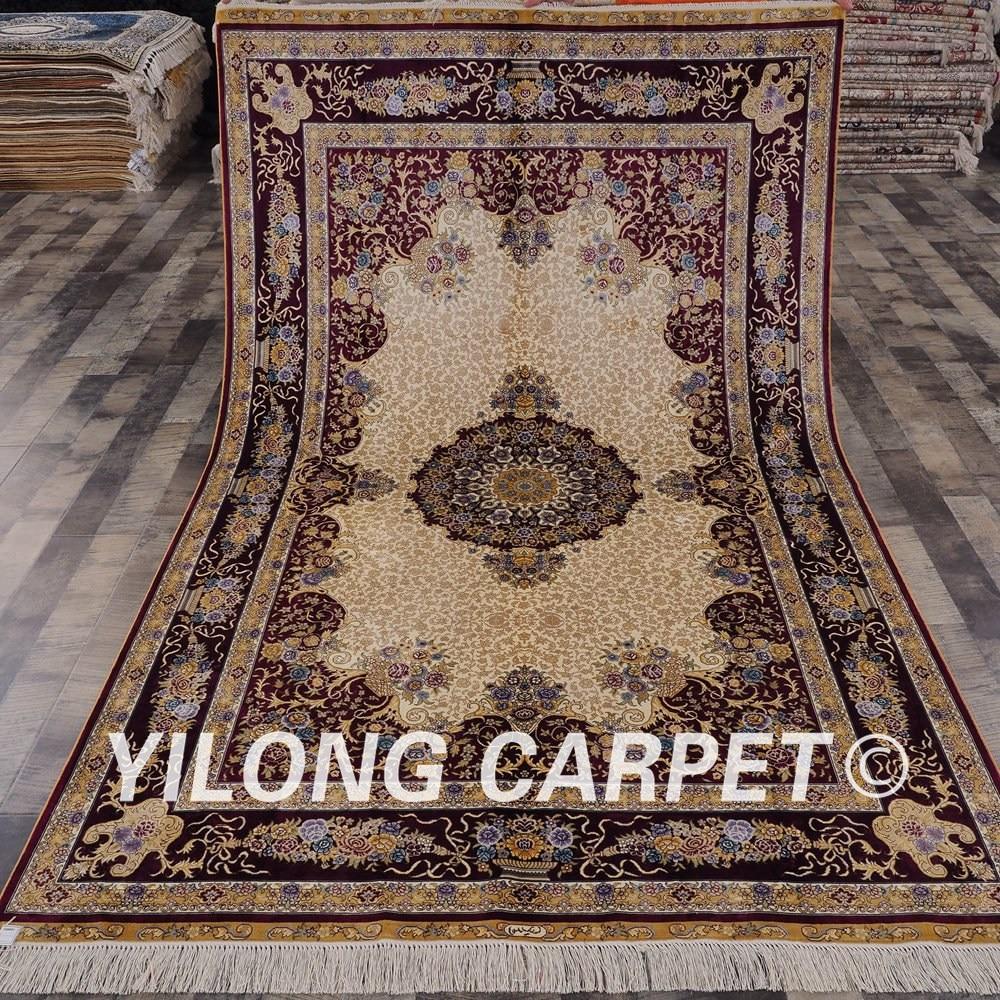 Tapis persan fait main Yilong 5'x8 tapis traditionnel en soie turque médaillon (SWP011A5x8)