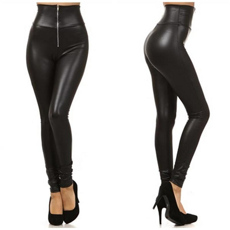 YSDNCHI High Waist Leggings Women Zipper Plus Size Pants Sexy Legging Women's Leather Trousers Black Fitness Push Up Legging