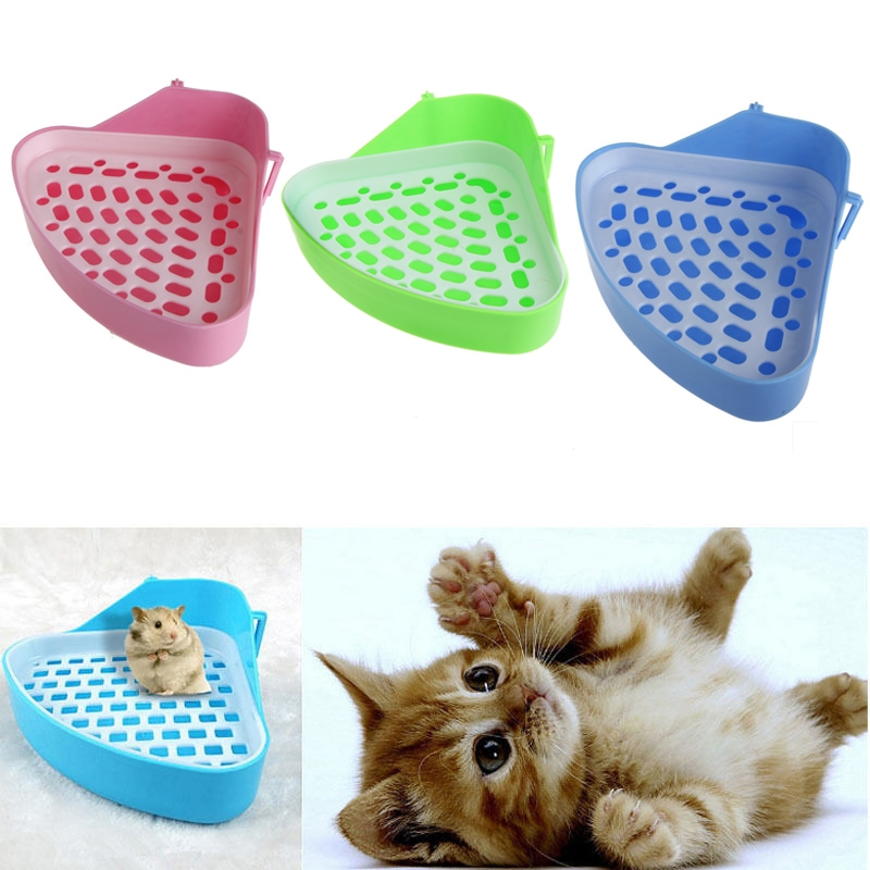 Pet Cat Rabbit Pee Toilet Corner Clean Litter Trays Small Animal Potty Bowl