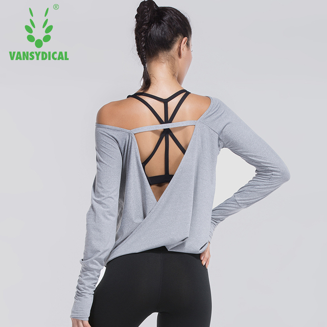 09c6bde3d6580 Vansydical Women Sexy Backless Yoga Shirts Off Shoulder Fitness Workout Tops  Running Tees Female Long Sleeve Sports Crop Tops