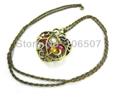 wholesale  free shipping 10pcs classic colorful pearl heart long choker necklace sweater chain trendy jewelry new hot