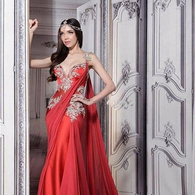 b8efba67f53b7 رومانسية العروس اللباس الأنيق ألف خط فساتين الزفاف أكمام مخصص الهندي ساري  فساتين حمراء طويلة 2017