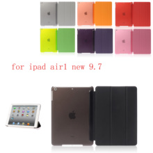 PC Leather Siamese Case for Apple iPad air new 9.7 Fashion Smart Cover + translucent back A1474`A1475`A1476`A1822