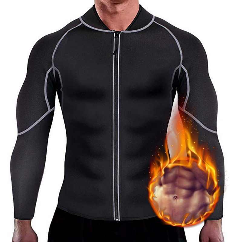 Мужская спортивная футболка с длинными рукавами, корсет, фитнес, Корректирующее белье, неопрен, сауна, для бега, высокая компрессия, тренировочные Топы