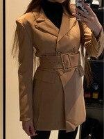 Fashion Za 2019 Women Khaki Casual Spring Autumn Jacket Female Elegant Adjustable Waist With Belt Long Sleeve casaco feminino