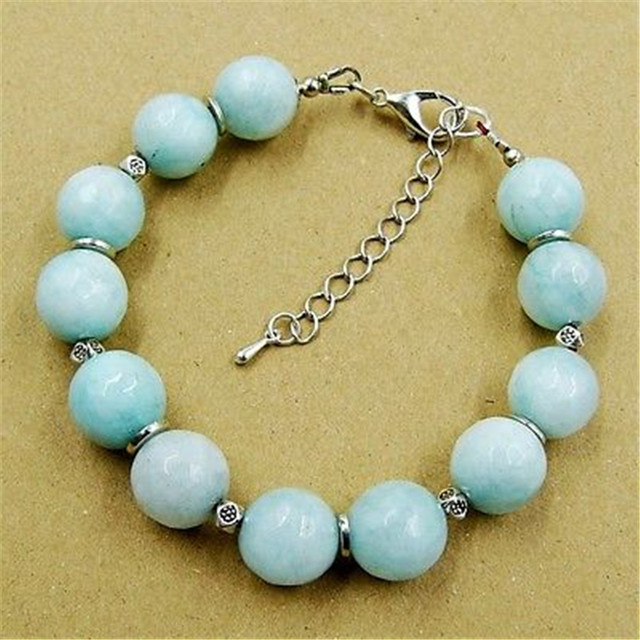 Vintage Classic Natural Stone Jewelry Elegant Noble Aquamarines Beaded Chain Strand Bracelet  20 cm