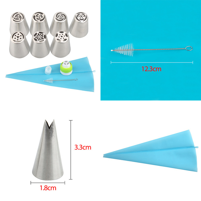 13PCS/Set Russian Tulip Icing Piping Nozzles Pastry Bag Cake Decorating Tips 3D Printer Nozzles For Cream Baking Tools 2