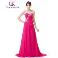 Grace Karin Elegant Formal Evening Dresses Deep Pink Sweetheart Beading Sequined Evening Gowns Long Special Occasion Dress 2018