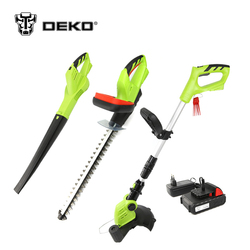DEKO 3 In 1 20V 2000mAh Li-ion Battery Cordless Grass Trimmer Hedge Trimmer and Leaf Blower Garden Tool Set