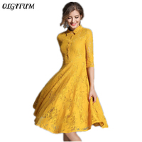 2018 European And American Women Notched Lace Dress Spring Elegant New Fashion Button Hollow Lace Ladies