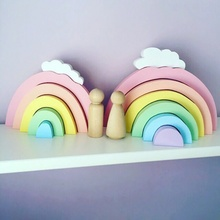 Photography Colorful Wooden Rainbow Building Blocks Decor Children 's Room Decorative Ornaments Wall Decorations
