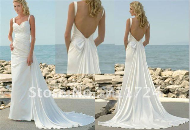 low back beach wedding dresses with detachable train-in Wedding ...