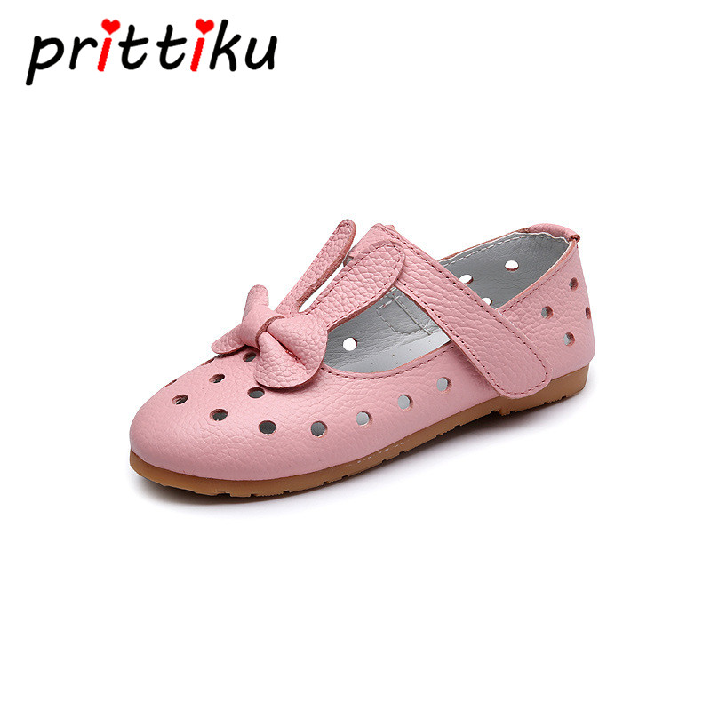 Baby Toddler Girls Genuine Leather Breathable Hole Princess Flats Little Kids Summer Sandals Big Children Mary Jane Dress Shoes