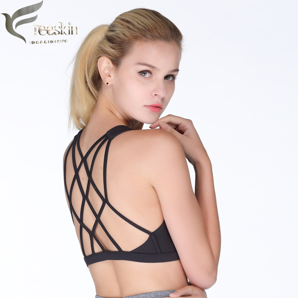 Freeskin Sports Bra Top Strappy Back Active Athletic Gym Fitness Bra Plus Size Women Sports Underwear Workout Clothes for Women active letter print u neck sports bra and pants twinset for women