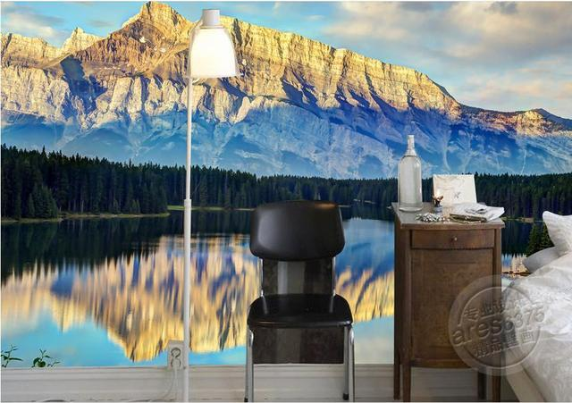 customize living walls wallpapers forest snow mountain wallpaper 3d