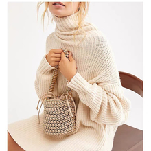 Fashion Weave Women Shoulder Bags Luxury Designer Leather Women Handbags Female Chain Bucket Bags Ladies Pu Hand Bags For Woman hand weave genuine leather handbags women fashion designer lady shoulder bags female casual handbag