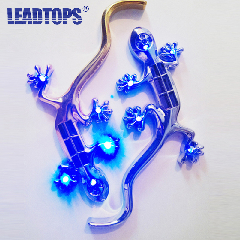 1pcs Universal The Solar Gecko King Warning Light High Bright LED Lamp Car Sticker 3D Stickers