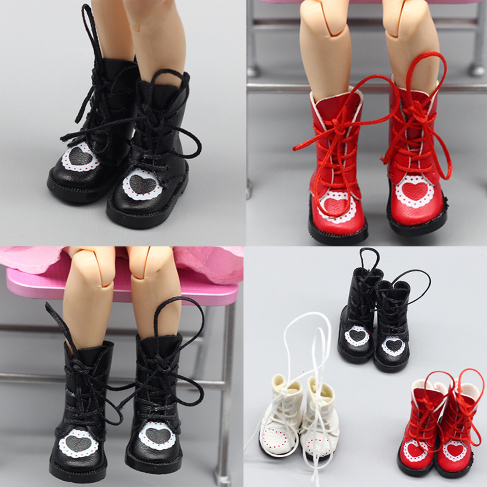 1pair PU Leather 1/8 <font><b>Doll</b></font> Boots For BJD <font><b>1/6</b></font> <font><b>Dolls</b></font> <font><b>Shoes</b></font> For Blythe Licca Jb <font><b>Doll</b></font> Mini Boot 3.2cm <font><b>Doll</b></font> Accessories image