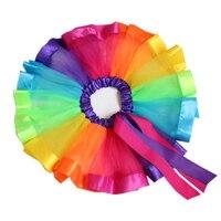 2017 New Baby Girls Princess Skirt Kids Rainbow Tutu Skirts Bow Tie Pettiskirt Tutu Custome Party