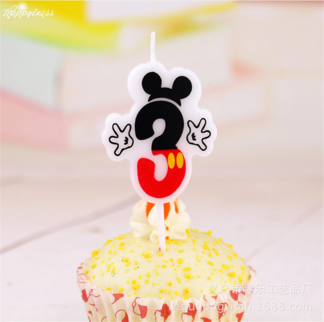 Cute Cake Candle Anniversary Numbers 3 Age Mickey Mouse Birthday Party Supplies Baby Shower