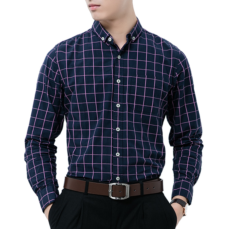 AOWOFS Mens Checkered Shirts Pure Cotton Long Sleeve Large Plaid ...