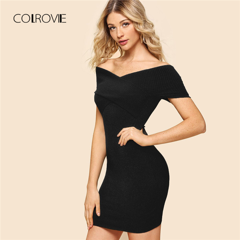 a4a2362fe7 Aliexpress.com : Buy COLROVIE Burgundy Sexy Off The Shoulder Criss Cross  Wrap Elegant Bodycon Dress 2018 Autumn Black Party Dress Mini Women Dresses  from ...