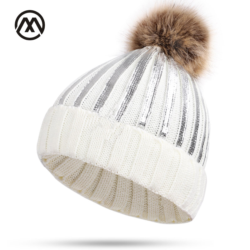 27f04ec769b Detail Feedback Questions about New winter knit cotton caps ladies bright  sparkling unisex hats warm and comfortable raccoon fur pom poms women brand  female ...