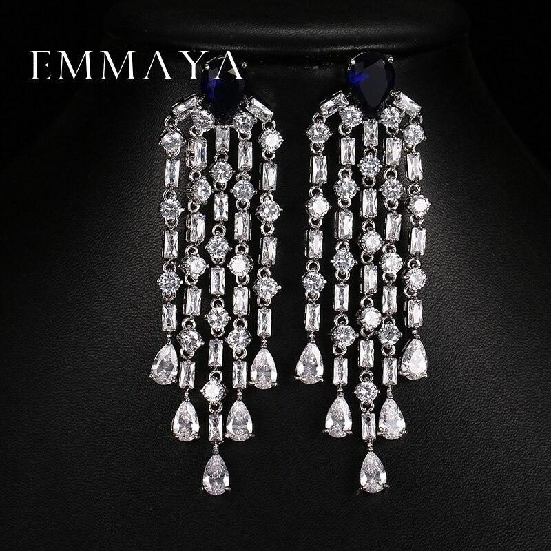 Emmaya Luxury Red Green Clear Blue Long Earrings For Women Wedding Party Drop AAA Clear Cubic Zirconia Tassel Dangle Earrings