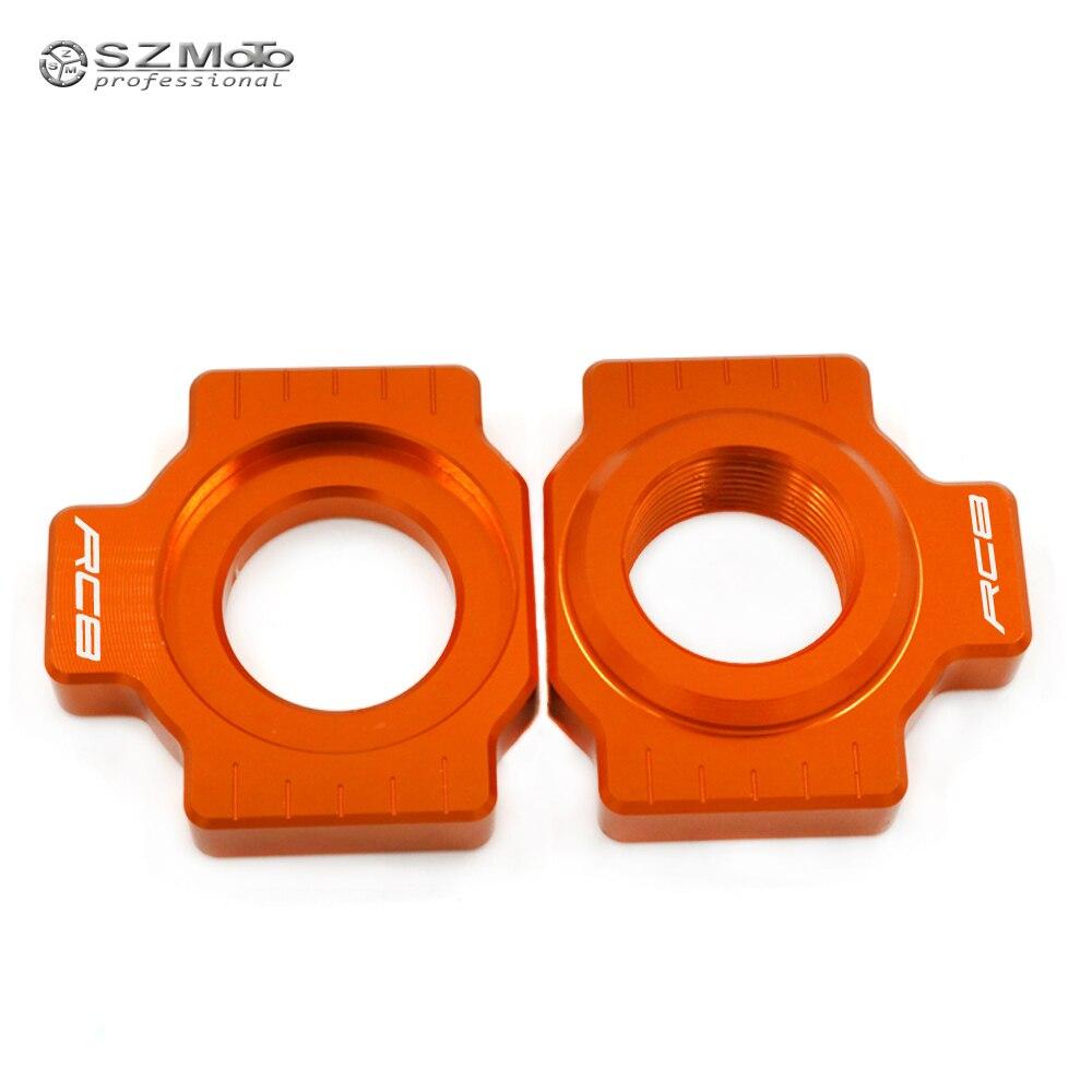 Chain Adjuster Regulator Swingarm Slider For KTM 1190 RC8 RC 8 2009-2013 Motorcycle Accessories CNC Orange With Logo