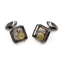 Hot Black Square Steampunk Gear Watch Mechanism Cufflinks for men Best Gift Formal Business wedding cuff links Relojes gemelos