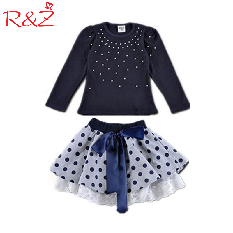 Girls' suits 2017 New arrival Autumn girls T-shirt + skirt 2pcs clothing Diamond dot bow dress children's skirt suit