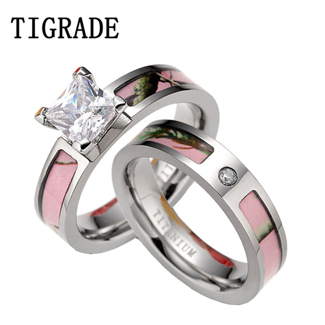 Tigrade Luxury Cubic Zirconia Pink Camo Ring Set Women Anium Wedding Band Engaement Rings
