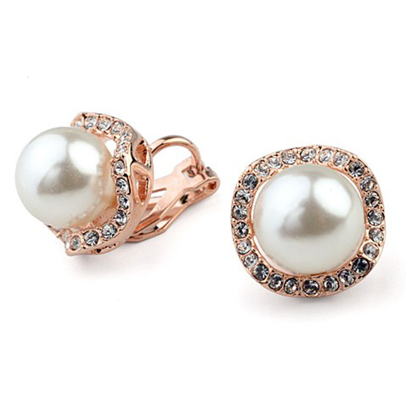 Non pierced ear clip for bride ear cuff pearl clip on earrings crystal jewely gold color brincos boucle d'oreille
