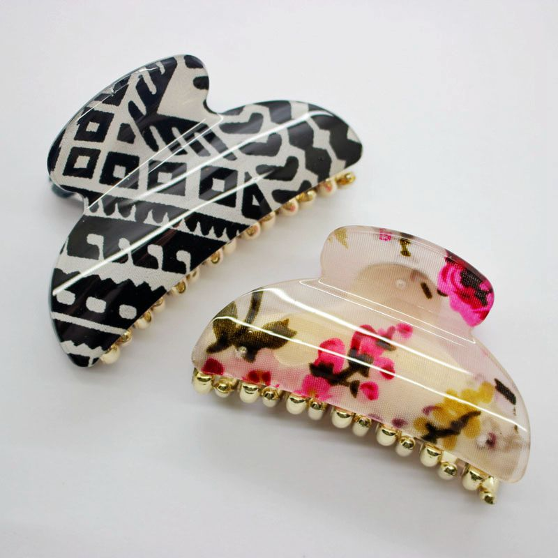 2017 New print hair claws black white Geometric patterns headwear floral print hair clips for women daily using hair accessories large h2h